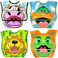 Dexbaby Big Mouth Leak-Proof Dura Bib w/ Catch-All Pocket - Large | 6 months + (4 Pack)