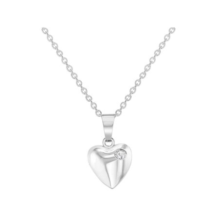 Rhodium Plated Small Clear Crystal Heart Pendant Necklace for Girls 16""