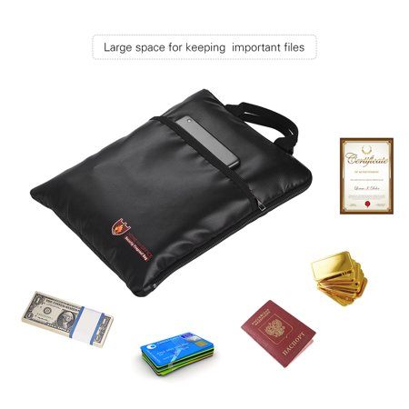 Fireproof Document Bag Water Resistant File Pouch Envelope Holder Silicone Coated Fiberglass Zipper Closure Safe Storage for Cash Money Passport Valuables - image 5 of 7