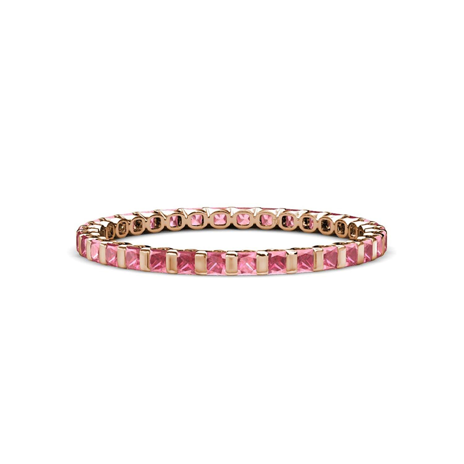 Pink Tourmaline 2mm Common Channel Set Eternity Band 1.05-1.20 Carat tw in 14K Rose Gold.size 8.0 by TriJewels