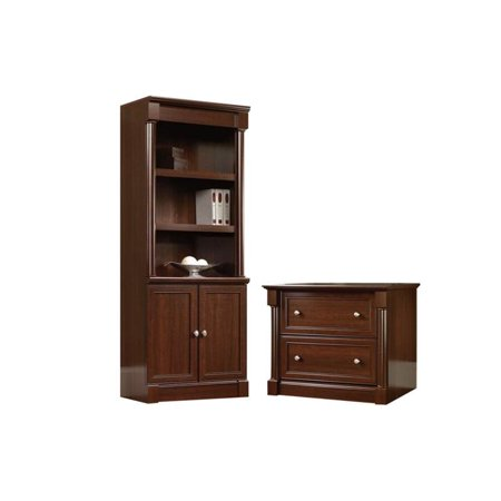 (2 Piece Office Set with Filing Cabinet and Bookcase in Cherry)
