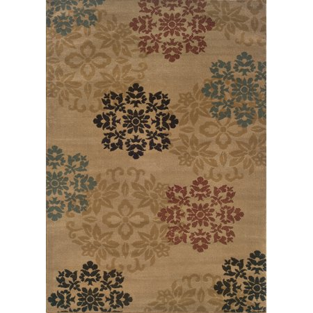 Moretti Plaid Area Rugs - 2320A Transitional Casual Beige Scrolls Floral Leaves Rug