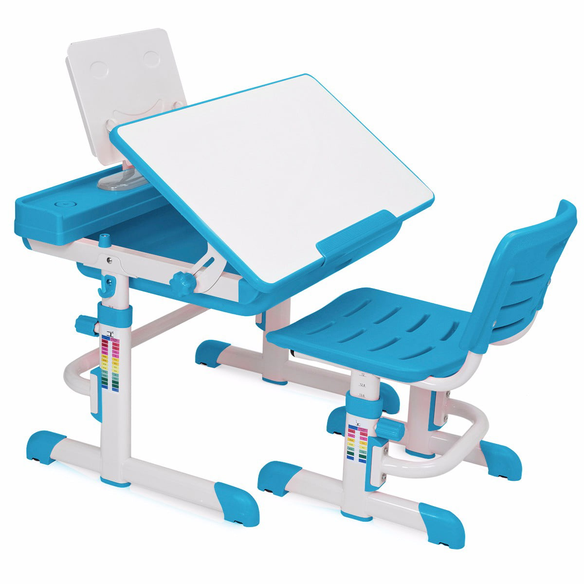 Kids Interactive Work Station Desk & Chair Adjustable Height, Blue ...