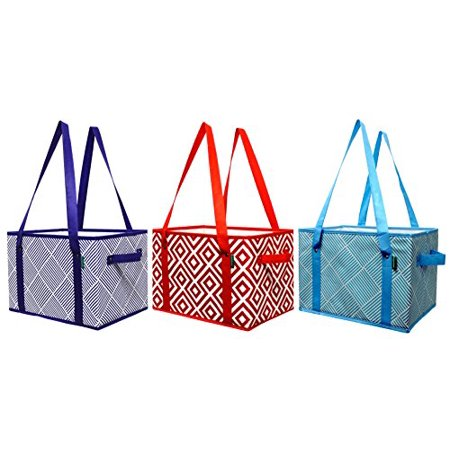 Earthwise Deluxe Collapsible Reusable Shopping Box Grocery Bag Set with Reinforced Bottom Storage Boxes Bins Cubes (Set of