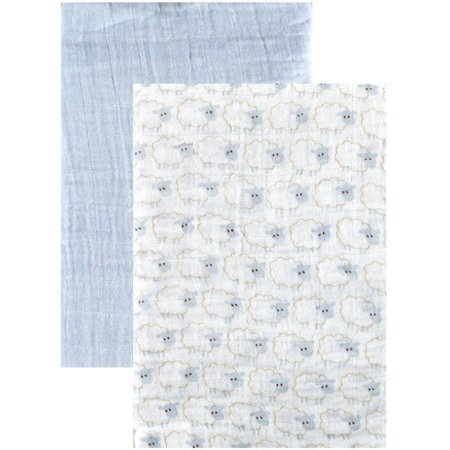 Hudson Baby Boy and Girl Muslin Swaddle Blankets, 2-Pack - Blue Sheep