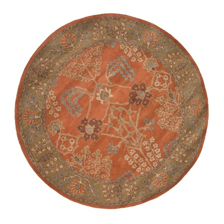 10 39 burnt orange and mocha brown arts and crafts pattern round hand tufted wool area throw rug. Black Bedroom Furniture Sets. Home Design Ideas