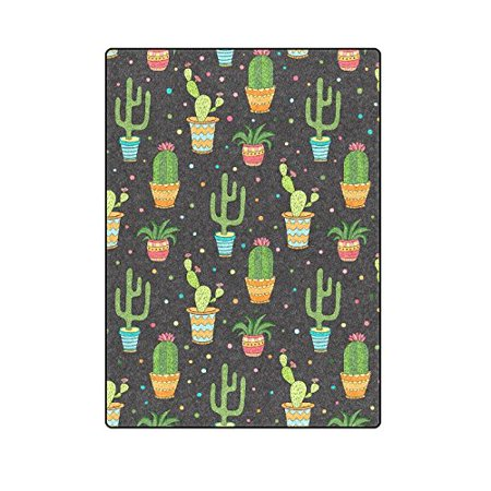 CADecor Succulent And Cactus Seamless Pattern Blanket Throw Super Soft Warm Bed or Couch Blanket 58x80 inches