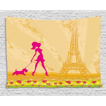 Teen Room Decor Tapestry, Pink Silhouette of A Girl with the Dog Eiffel Tower in Paris Design, Wall Hanging for Bedroom Living Room Dorm Decor, 60W X 40L Inches, Apricot Hot Pink, by Ambesonne ()