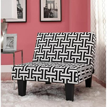 Kebo Chair Amp Ottoman Black And White Geometric Walmart Com