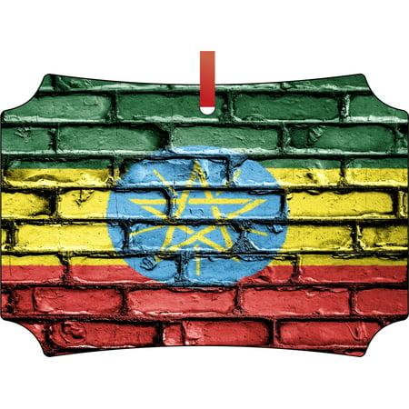 Ethiopia Flag Waving Ethiopian Flag Double Sided Elegant Aluminum