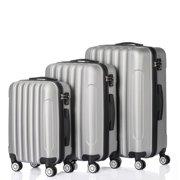 3PCS Grey Luggage Travel Set Bag ABS Trolley Hard Shell Suitcase w/TSA lock Grey