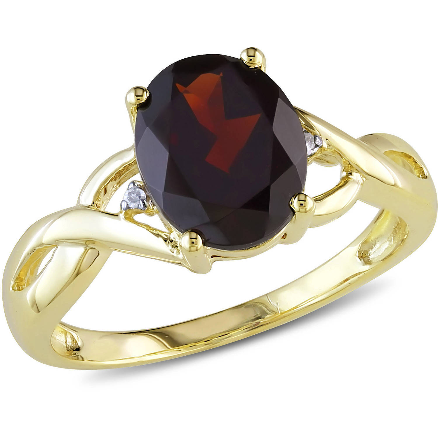 Tangelo 3 Carat T.G.W. Garnet and Diamond-Accent 10kt Yellow Gold Cocktail Ring by Tangelo