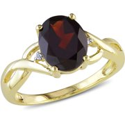 3 Carat T.G.W. Garnet and Diamond-Accent 10kt Yellow Gold Cocktail Ring