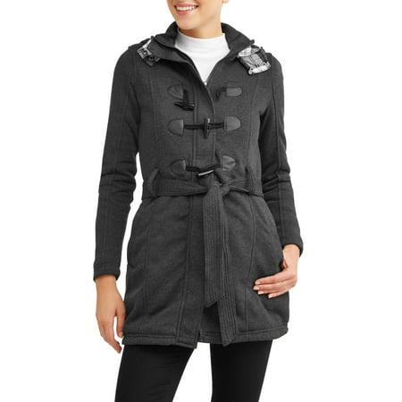 f96abf23441 Yoki - women s sherpa lined toggle fleece jacket with removeable plaid lined  hood - Walmart.com