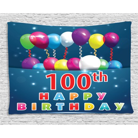 100th Birthday Decorations Tapestry, Colorful Balloons on Star Like Dots 100 Years Birthday, Wall Hanging for Bedroom Living Room Dorm Decor, 80W X 60L Inches, Blue and Dark Blue, by Ambesonne