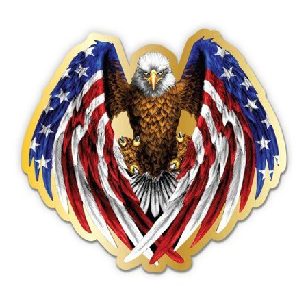 American Eagle Patriotic American Flag - Large Size Vinyl Sticker Decal - for Truck Car Cornhole Board Sticker 16