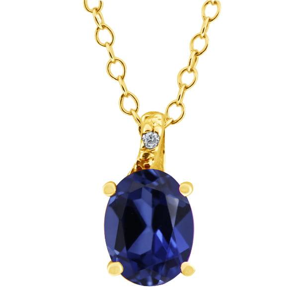1.68 Ct Oval Blue Simulated Sapphire White Diamond 14K Yellow Gold Pendant