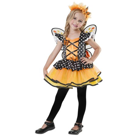 Butterfly Costume 2t (Toddler Girls Monarch Butterfly Fairy Costume Dress & Headband)
