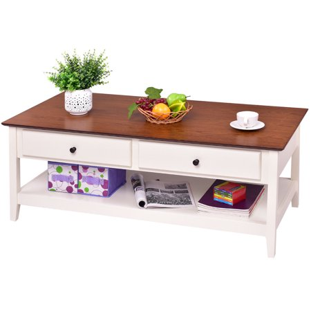 Gymax Wood Coffee Table Cocktail Table Rectangle w/ Drawer & Storage Shelf Living Room