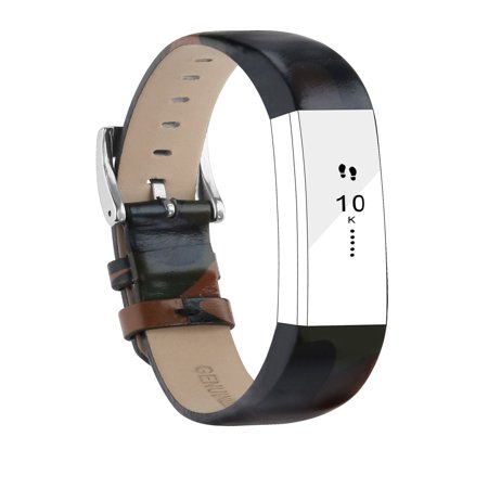 Fitbit Alta Bands Leather Alta HR Bands Adjustable Replacement Sport Strap  Band for Fitbit Alta HR Accessory (Camo)