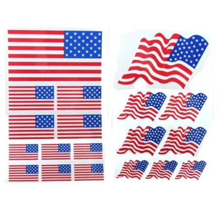 Pack Laser Stickers Flag Design - American Flag Tattoos 2 Packs Stickers 19 Flag Tattoos USA Flag Temporary Tattoo 2p Set