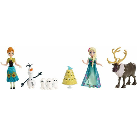 Disney Frozen Fever Birthday Party Doll Figure Set Anna Olaf Elsa Reindeer Mattel DKC58 (Elsa Dress From Frozen Movie)