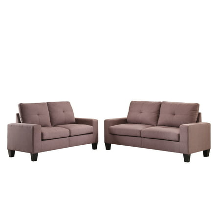 ACME Platinum II Sofa & Loveseat, Chocolate Linen