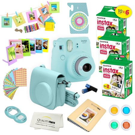 Fujifilm Instax Mini 9 Camera Blue + 15 PC Accessory Kit for Fujifilm instax mini 9 Instant Camera Includes: 60 Fuji Instax Films + Case + Album + Colored lenses + Assorted color/Style frames + MORE