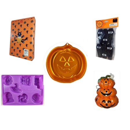 Halloween Fun Gift Bundle [5 Piece] -  Cat Pumpkin Push In 5 Piece Head Arms Legs - Tombstone Containers Party Favors 6 Count - Wilton Iridescents Jack-O-Lantern Pan - Happy  Jell-O Mold - Motion-ac - Halloween Jack In The Box Head