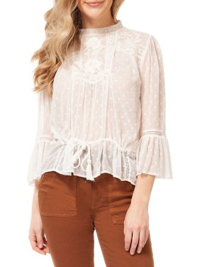 Embroidered Lace-Trim Peasant Top