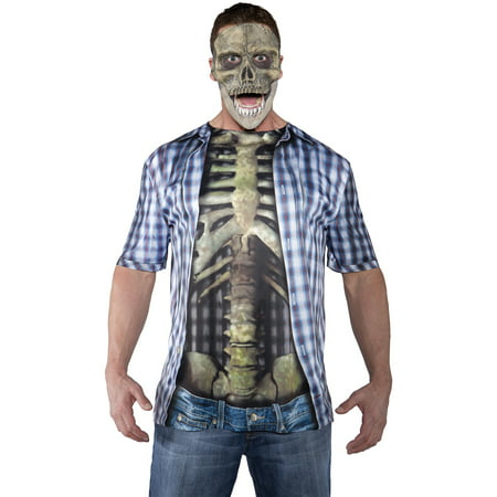 Blue Photo-Real Skeleton Shirt Adult Halloween Costume - Halloween Blues