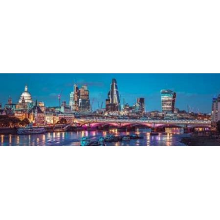 Evening view of Blackfriars Bridge over River Thames with London skyline Poster Print by  Assaf Frank](Halloween Evening Events London)