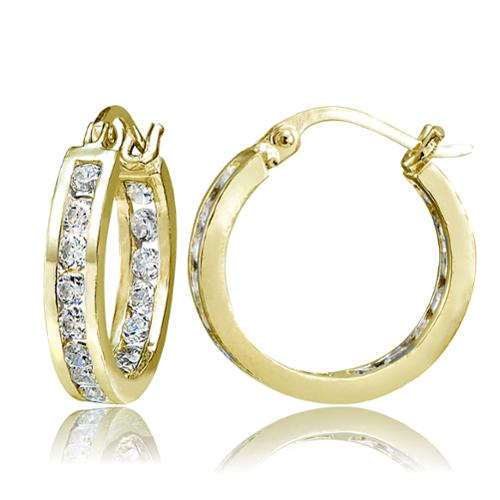 ICZ Stonez Inside-Out Cubic Zirconia 3mm Round Hoop Earrings, 18mm 18k Gold over Silver