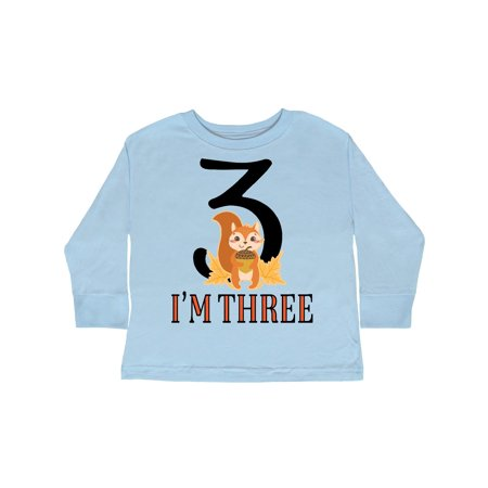 3rd Birthday Fall Squirrel 3 Year Old Toddler Long Sleeve T-Shirt