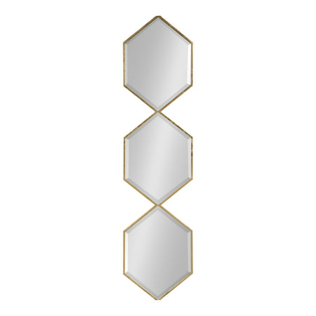 Kate and Laurel Roycen Modern Glam Narrow Geometric Shaped Metal Accent Wall Mirror, 42 x 10 Gold - Shaped Mirrors
