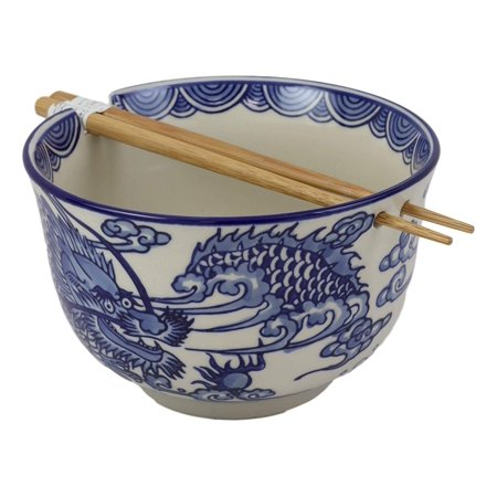 Dragon Noodle - Ebros Ming Style Feng Shui Dragon Blue And White Ramen Udon Noodles Large 6.25