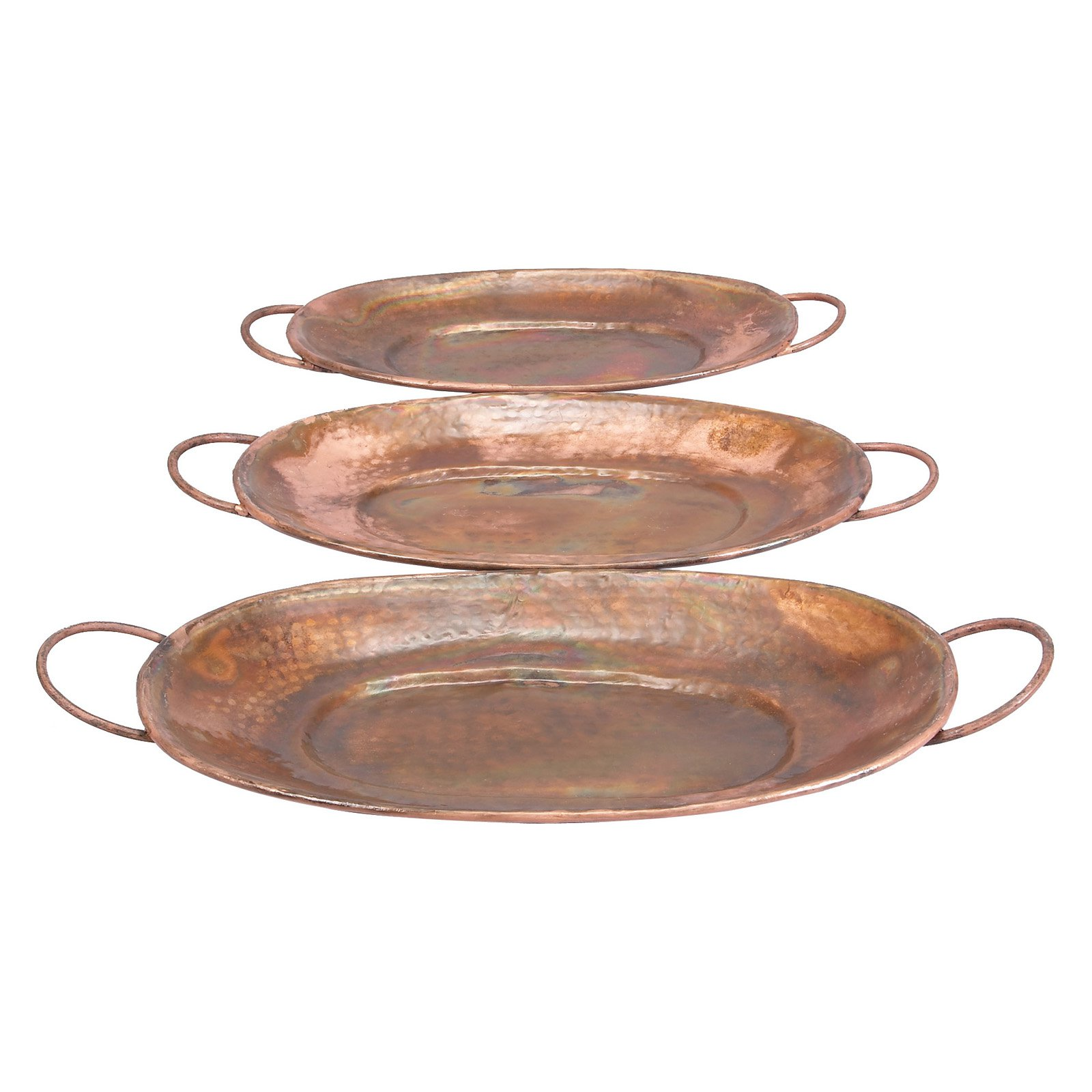 Decmode Metal Copper Tray, Set of 3, Multi Color