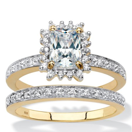 Emerald-Cut Created White Sapphire and Diamond 2-Piece Halo Wedding Ring Set 1.67 TCW in 18k Gold over Sterling Silver