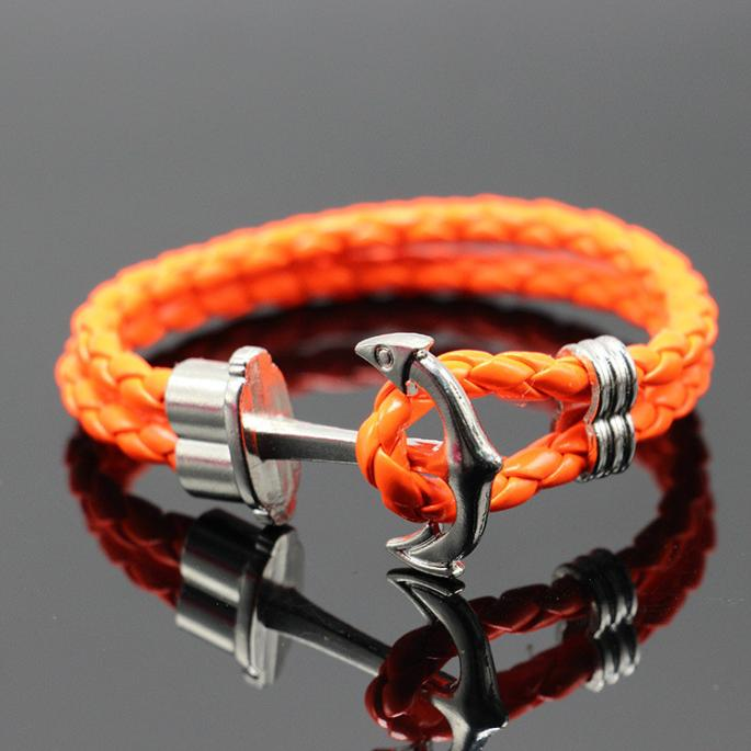 Mosunx Women Men Multilayer Leather Handmade Cuff Wristband Anchor Bracelet Bangle