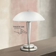 """360 Lighting Modern Desk Table Lamp 17"""" High Touch On Off Brushed Steel White Frosted Glass Dome Shade for Bedroom Bedside Office"""