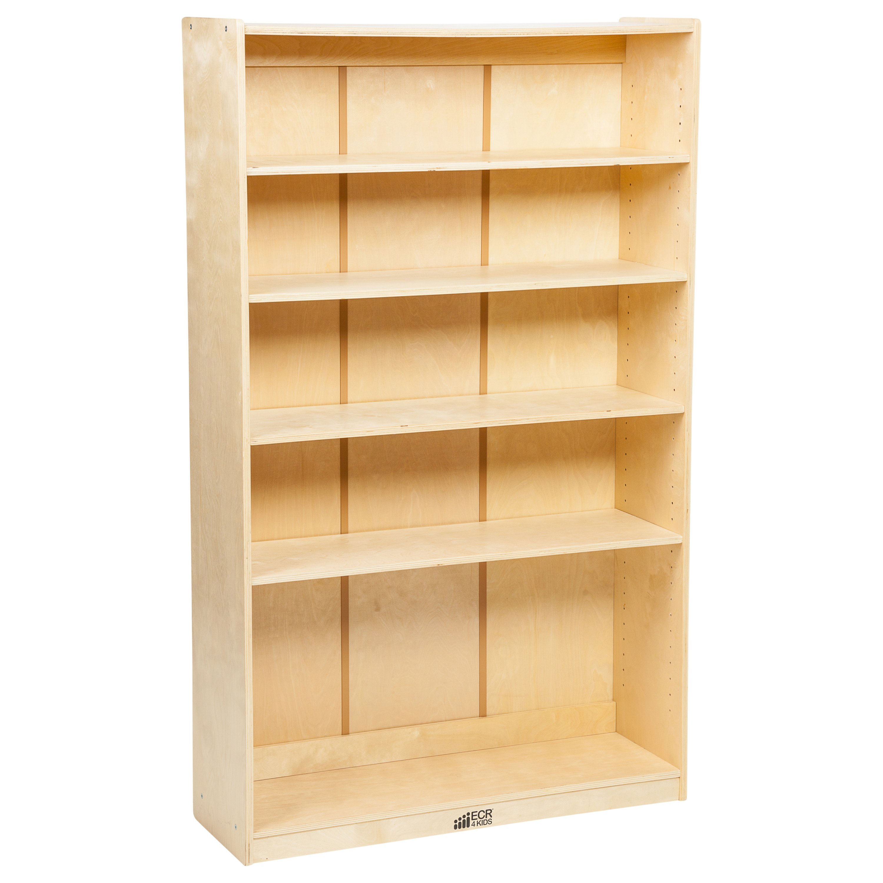 ECR4Kids Classic Birch Kids Bookshelf, 5-Tier with Adjustable Shelves
