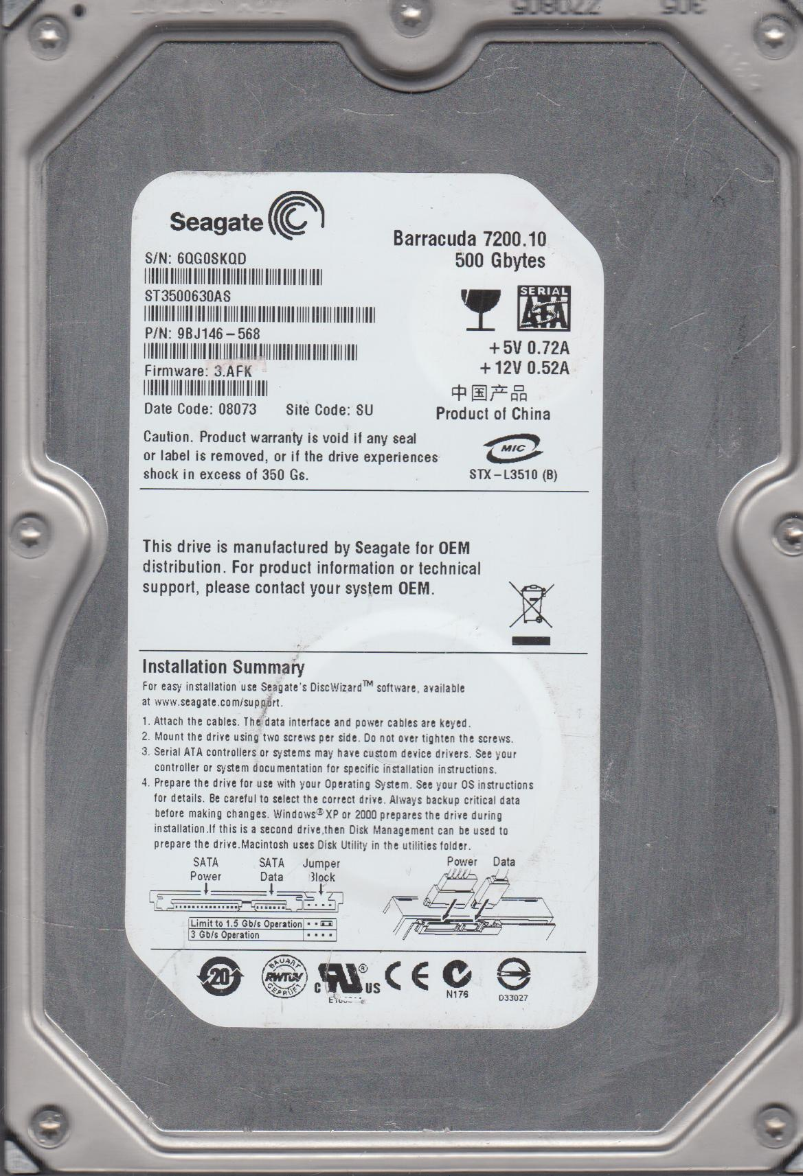 ST3500630AS, 6QG, SU, PN 9BJ146-568, FW 3.AFK, Seagate 500GB SATA 3.5 Hard Drive by Seagate