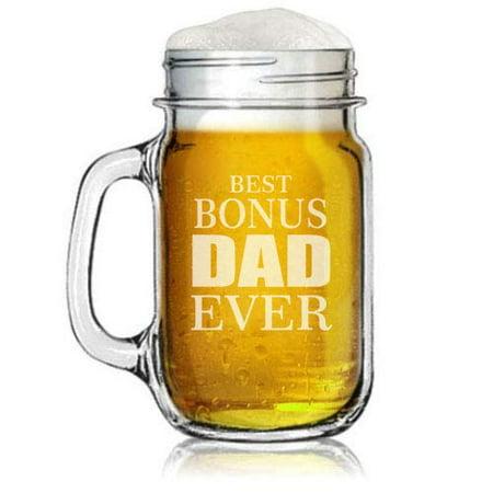 16oz Mason Jar Glass Mug w/Handle Stepfather Best Bonus Dad