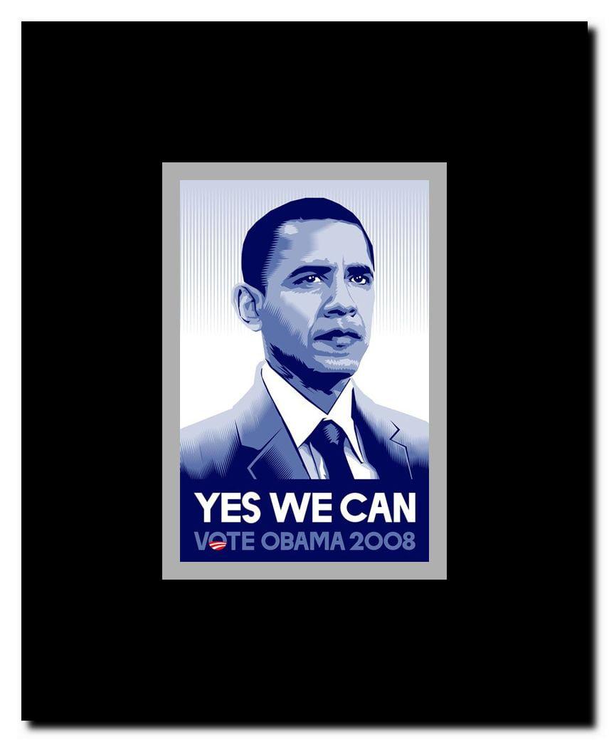 Barack Obama Yes We Can Campaign Poster Framed Movie Poster Walmart Com Walmart Com