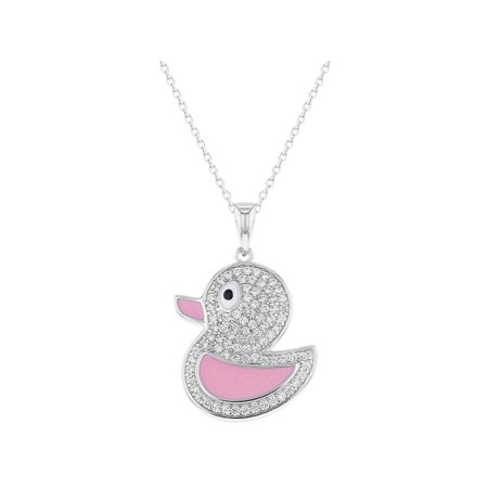 925 Sterling Silver Clear CZ Pink Enamel Duck Necklace Pendant for Girls 16