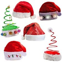Christmas Holiday Hats 6 Pack- Santa Hats- Coil Hats Hat- Light up Hats