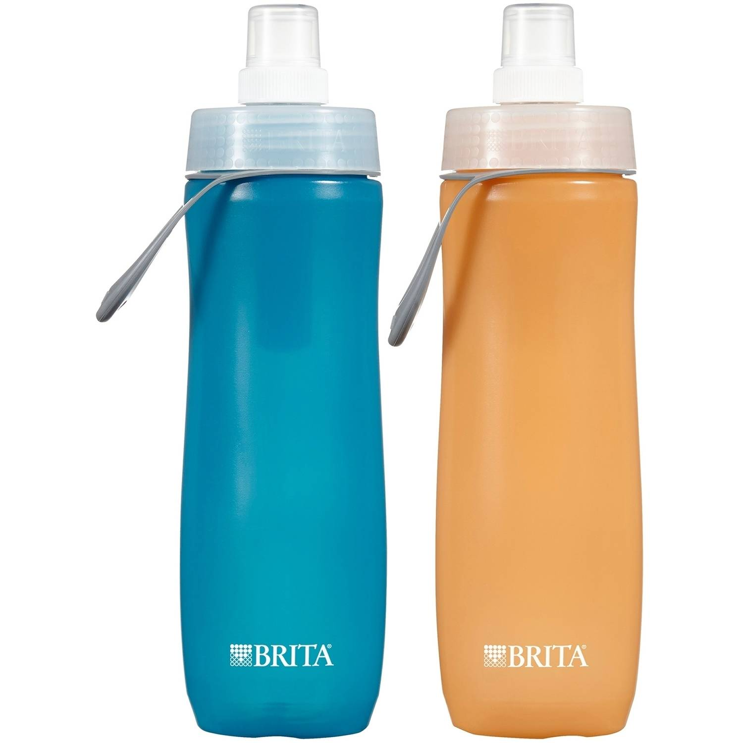 Brita Sport Water Filter Bottle, Twin Pack, Blue and Orange, 20 oz Bottle
