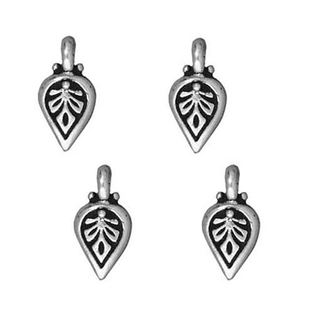 Fine Silver Plated Pewter Palmette Leaf Charm 11mm (Silver Plated Lead)