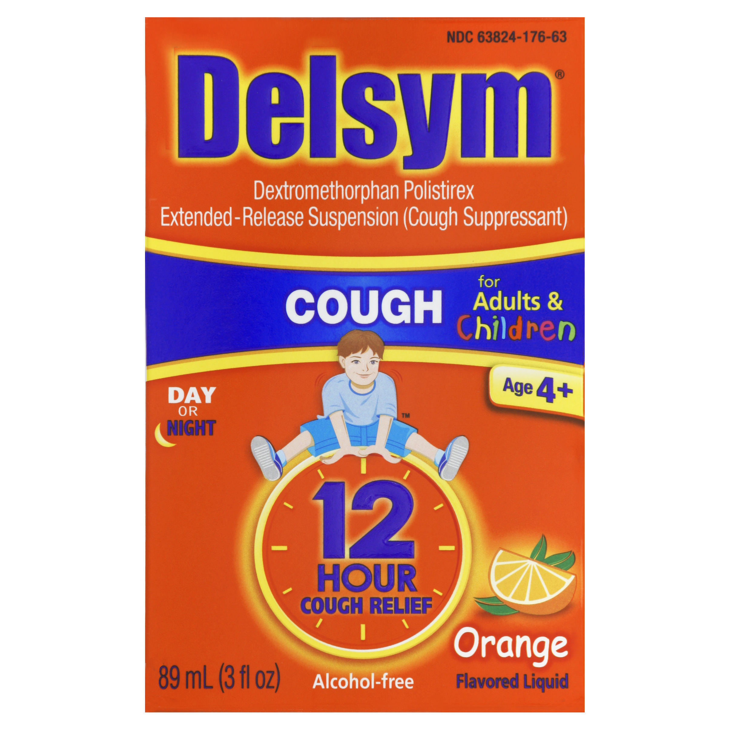 Delsym Children's Cough Suppressant Liquid, Orange Flavor, 3 Ounce