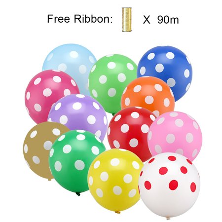 LAttLiv Balloons 50 Piece 12 Inches Printed Latex Balloons-Colourful Dot (Balloons Price)